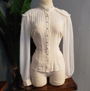 Bebe regal look cream blouse